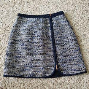 J Crew Tweed White Black Blue Size 4 Skirt